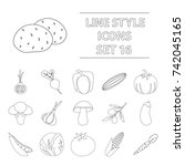 vegetables set icons in outline ... | Shutterstock . vector #742045165