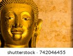 close up of golden  buddha...   Shutterstock . vector #742046455