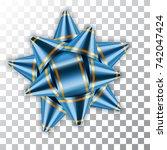 blue bow ribbon decor element... | Shutterstock .eps vector #742047424