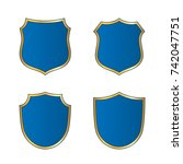 gold blue shield shape icons... | Shutterstock .eps vector #742047751