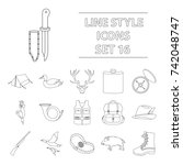 hunting set icons in outline...   Shutterstock . vector #742048747