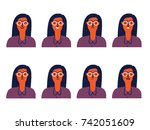 set of woman's emotions. facial ... | Shutterstock .eps vector #742051609