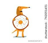 cute dachshund. cartoon...   Shutterstock .eps vector #742051651