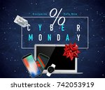 realistic smart phones  laptop... | Shutterstock .eps vector #742053919