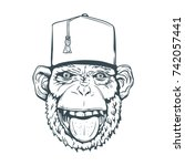 hand drawn smiling monkey with... | Shutterstock .eps vector #742057441