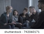 support group meeting with... | Shutterstock . vector #742060171