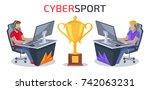 cybersport player vs player... | Shutterstock .eps vector #742063231