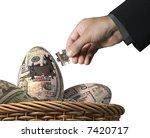 Prosperity eggs puzzle, money concept - stock photo