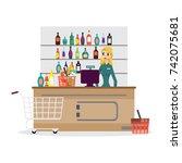 supermarket store counter desk...   Shutterstock .eps vector #742075681