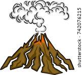 volcano eruption with hot lava... | Shutterstock .eps vector #742076215