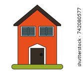 family home or house icon image  | Shutterstock .eps vector #742080577