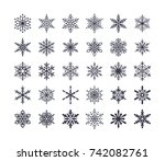 cute snowflakes collection... | Shutterstock .eps vector #742082761