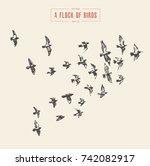Stock vector a flock of birds hand drawn vector illustration sketch 742082917