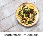 italian artisanal fresh pasta...   Shutterstock . vector #742088581