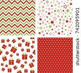 set of vector christmas... | Shutterstock .eps vector #742095901