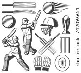 vintage cricket elements... | Shutterstock .eps vector #742096651