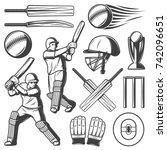 vintage cricket elements... | Shutterstock .eps vector #742096651