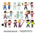 flat style decorative figures... | Shutterstock .eps vector #742097071
