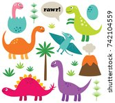 cartoon dinosaurs  isolated ... | Shutterstock .eps vector #742104559