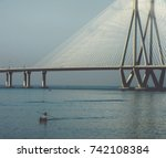 a fisherman boating near the... | Shutterstock . vector #742108384