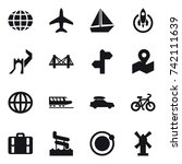 16 vector icon set   globe ... | Shutterstock .eps vector #742111639