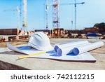 rolls of paper with building... | Shutterstock . vector #742112215