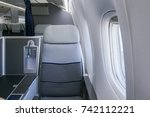 interior of airplane with empty ... | Shutterstock . vector #742112221