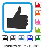 thumb up icon. flat gray...