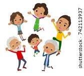 family three generations black... | Shutterstock .eps vector #742113937