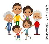 family three generations black... | Shutterstock .eps vector #742114075