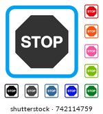 stop sign icon. flat grey...