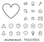 heart icon in set on the white... | Shutterstock .eps vector #742115521
