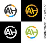 ah initial letters circle logo  ... | Shutterstock .eps vector #742125877