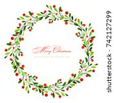 christmas wreath | Shutterstock .eps vector #742127299