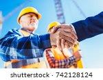 construction worker in... | Shutterstock . vector #742128124