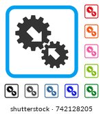 integration gears icon. flat... | Shutterstock .eps vector #742128205