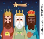 the three kings of orient. wise ... | Shutterstock .eps vector #742136905