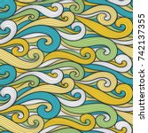 abstract colorful curly lines... | Shutterstock .eps vector #742137355