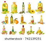 collection set vegetable oils... | Shutterstock .eps vector #742139251