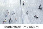 top view crowd of people walk... | Shutterstock . vector #742139374