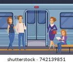 people waiting at subway... | Shutterstock .eps vector #742139851