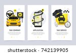 taxi vertical banners set with... | Shutterstock .eps vector #742139905