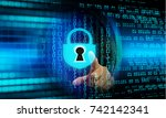cyber network concept  holding...   Shutterstock . vector #742142341