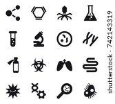 16 vector icon set   molecule ...   Shutterstock .eps vector #742143319