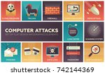 computer attacks   set of flat... | Shutterstock .eps vector #742144369