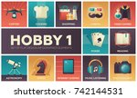 hobby   set of flat design... | Shutterstock .eps vector #742144531