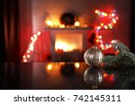 xmas time and desk of free... | Shutterstock . vector #742145311
