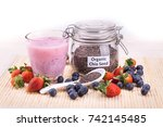 chia seeds with fresh berries... | Shutterstock . vector #742145485