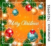 merry christmas lettering in... | Shutterstock .eps vector #742149931