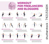 workout for freelancers and...   Shutterstock .eps vector #742152604
